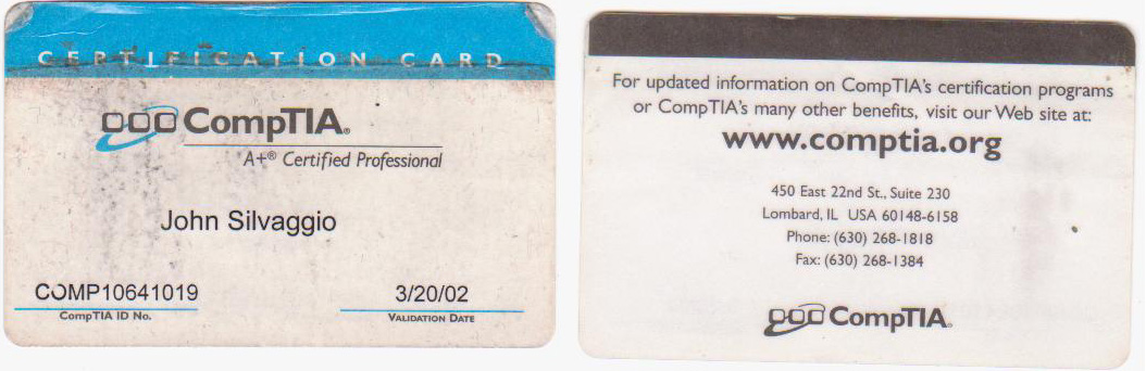 CompTIA A+ Certification Identification Card