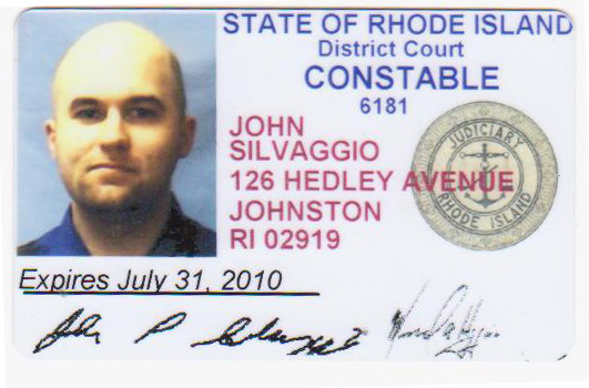 Rhode Island State Constable License Identification Card