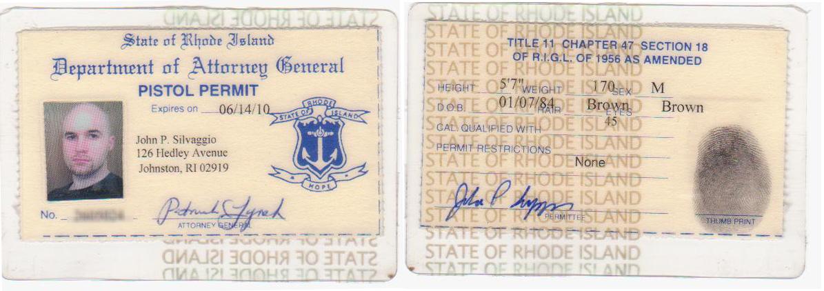State of Rhode Island Pistol Permit - CCW LTC