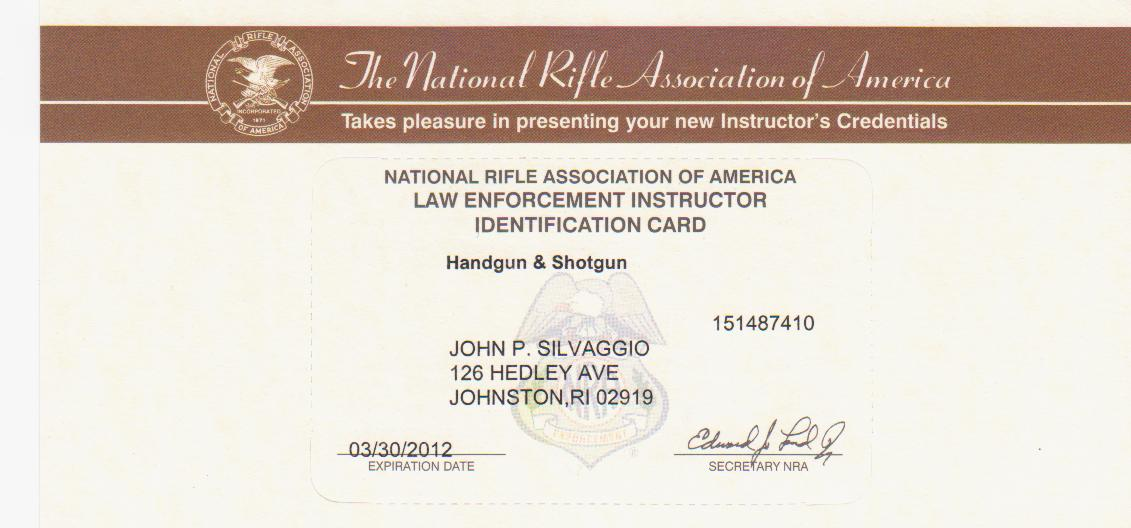 NRA Law Enforcement Handgun Shotgun Certification